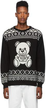 Moschino Black Alpaca Teddy Crewneck Sweater