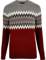 River Island Mens Red fairisle knit jumper