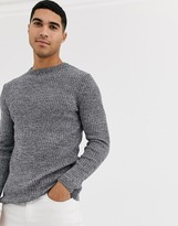 New Look ribbed muscle fit sweater in gray marl