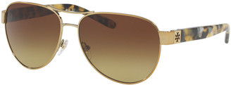 Tory Burch Gradient Contrast-Arm Aviator Sunglasses, Tortoise/Gold