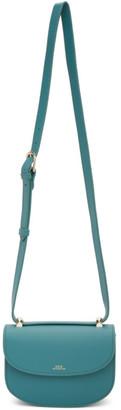 A.P.C. Blue Grained Calfskin Mini Geneve Bag