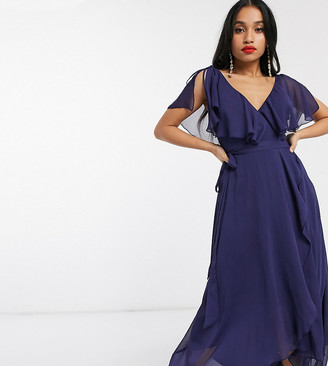 ASOS DESIGN Petite split sleeve cape back dipped hem maxi dress with tie shoulder