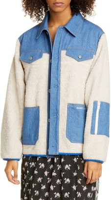 Sandy Liang Dorne Denim Panel Faux Fur Jacket