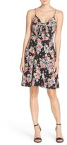 ECI Bow Front Print Fit & Flare Dress