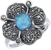 Victoria Crowne Sterling Silver Blue Opal and Marcasite Vintage Style Fashion Ring