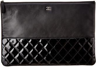 Chanel Black Lambskin Leather Pouch Clutch