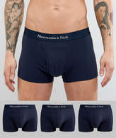 Abercrombie & Fitch 3 Pack Trunks Logo Waistband In Navy
