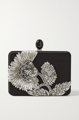 Oscar de la Renta Embellished Silk-satin Clutch - Black