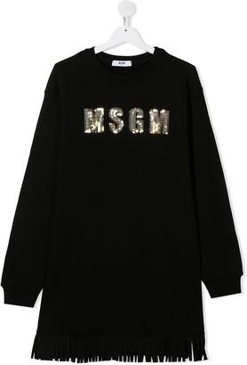 Msgm Kids TEEN sequin-logo cotton dress