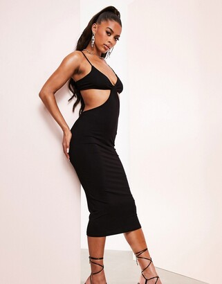 ASOS DESIGN strappy back cut-out bodycon midi dress in black