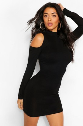 boohoo Cold Shoulder Long Sleeve Bodycon Mini Dress