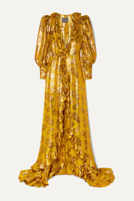 Monique Lhuillier Ruffled Metallic Silk-blend Jacquard Wrap Gown - Saffron