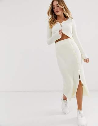 Asos Design DESIGN co-ord rib knit midi skirt-Cream