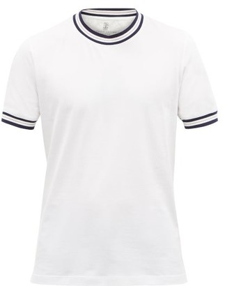 Brunello Cucinelli Striped-edge Cotton-jersey T-shirt - White