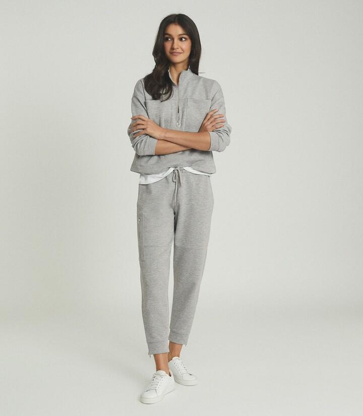 Reiss Angelina - Jersey Loungewear Joggers in Grey Marl