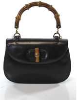 Gucci Brown Calfskin Leather Bamboo Top Handle Satchel Handbag