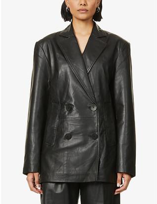 REMAIN Birger Christensen Debbie double-breasted leather blazer