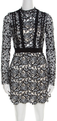 Self-Portrait Monochrome Floral Guipure Lace Scalloped Antoinette Mini Dress S