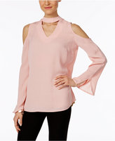 NY Collection Cold-Shoulder Choker Top