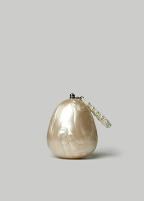 Simone Rocha Women's Handheld Perspex Egg Bag With Crossbody & Beading in Pearl/Pearl