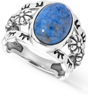 American West Three Row Denim Lapis Ring in Sterling Silver