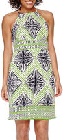 London Times London Style Collection Sleeveless Printed Fit-and-Flare Dress