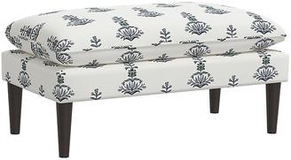 One Kings Lane Ella Pillow-Top Bench - Lila Block Print