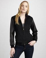 Capulet Leather-Sleeve Varsity Jacket