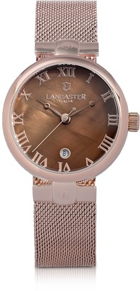 Lancaster Chimaera Rose Gold Stainless Steel Watch w/Brown Dial