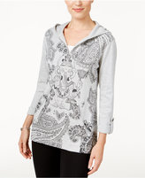 Style&Co. Style & Co. Printed Zip-Neck Hoodie, Only at Macy's