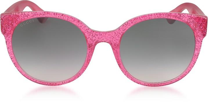 532f0ae99 Gucci Round Glitter Sunglasses - ShopStyle