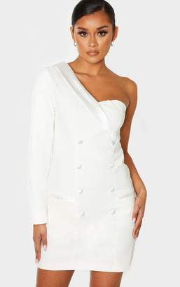 PrettyLittleThing White One Shoulder Button Detail Blazer Dress
