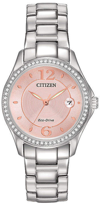 Citizen Eco-Drive Silhouette Womens Crystal-Accent Pink Dial Watch FE1140-86X