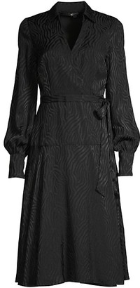 Jay Godfrey Manning Zebra-Print Puff-Sleeve Wrap Dress