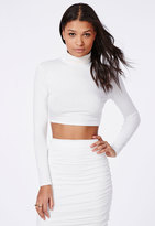 Missguided Turtle Neck Long Sleeve Crop Top White