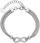 Italian Silver Crystal Infinity Bracelet