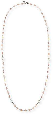 Armenta Old World Beaded Peach Moonstone Necklace with Diamonds, 38""