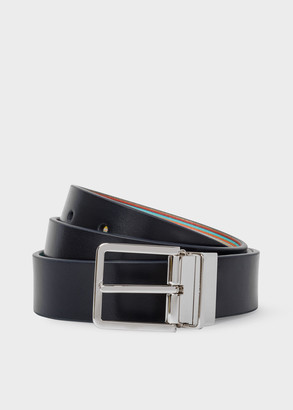 Paul Smith Men's Signature Stripe And Navy Cut-To-Fit Reversible Leather Belt