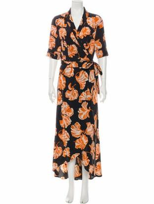 Ganni Floral Print Long Dress Black