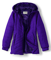 Classic Little Girls Primaloft Fleece Lined Parka-Dark Violet