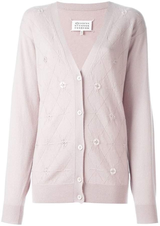 Maison Margiela cashmere button embellished argyle cardigan