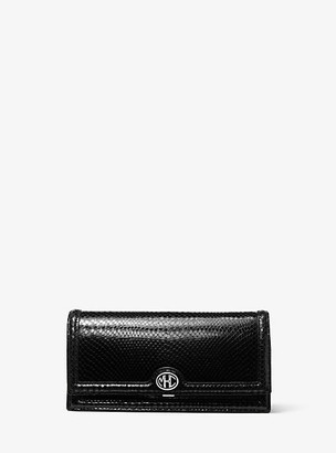 Michael Kors Collection MK Monogramme Python Embossed Leather Clutch - Black - Michael Kors