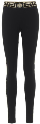 Versace Printed stretch-cotton leggings