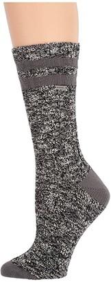 Sorel Cotton Varsity Stripe Crew (Black/Quarry) Women's Crew Cut Socks Shoes