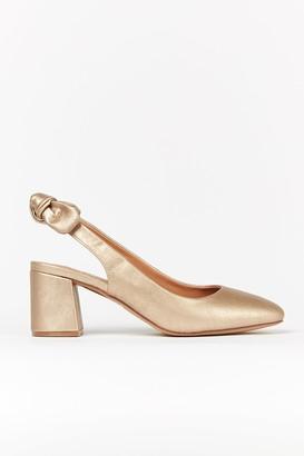 Wallis **WIDE FIT Gold Bow Slingback Heel