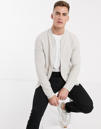 Jack and Jones ribbed zip through sweat bomber jacket in stone