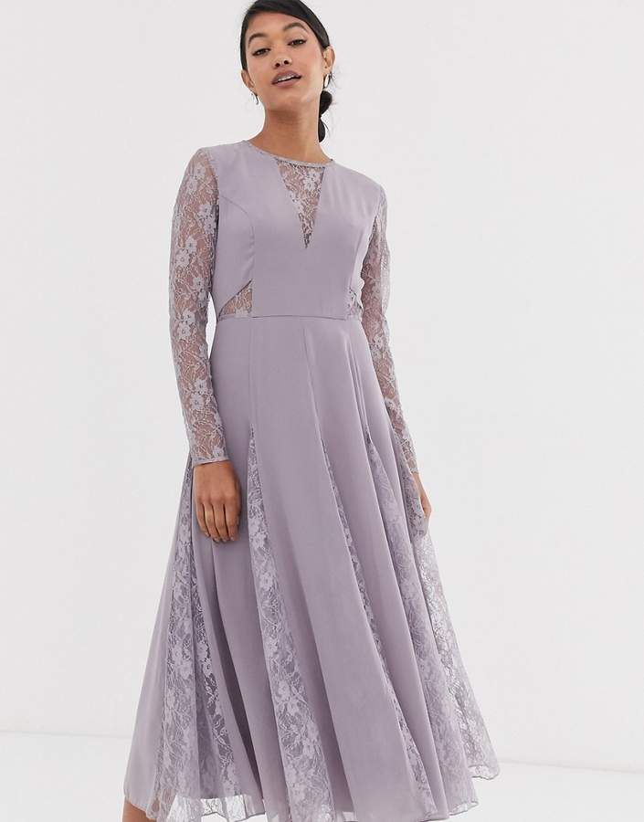 Asos Design DESIGN midi dress with long sleeve and lace panelled bodice