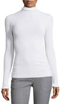 Derek Lam Ribbed Ruffle-Trim Turtleneck Sweater