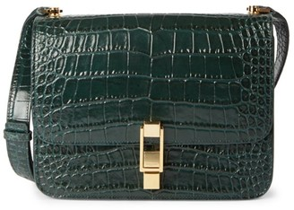 Saint Laurent Carre Croc-Embossed Leather Shoulder Bag