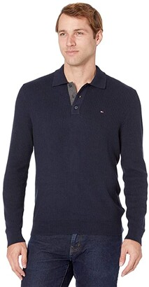Tommy Hilfiger Long Sleeve Textured Polo (Grey Heather) Men's Clothing